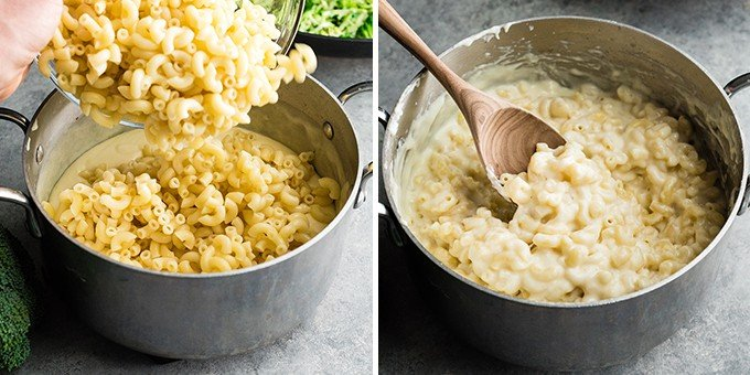 two front view photos showing adding and mixing cooked macaroni into cheese sauce
