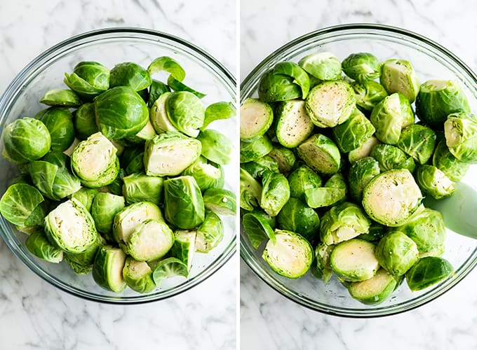 two overhead photos showing how to make roasted brussel sprouts