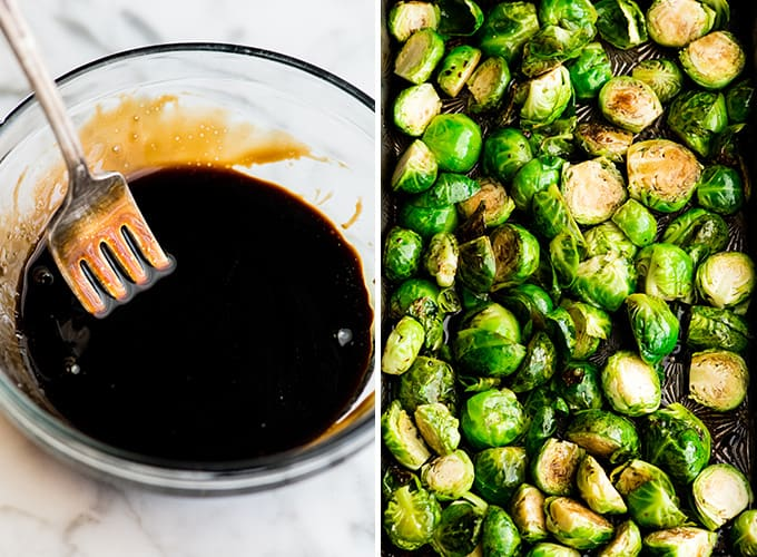 two photos showing how to make balsamic roasted brussel sprouts