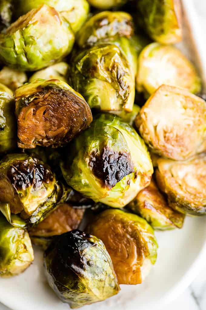 up close overhead view of balsamic roasted brussel sprouts