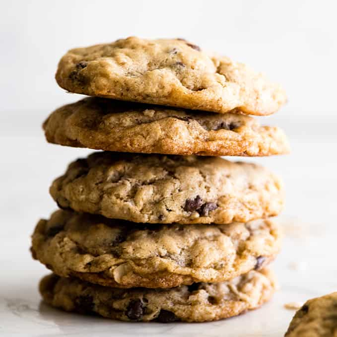 Front view of a stack of 5 oatmeal cookies with chocolate chips