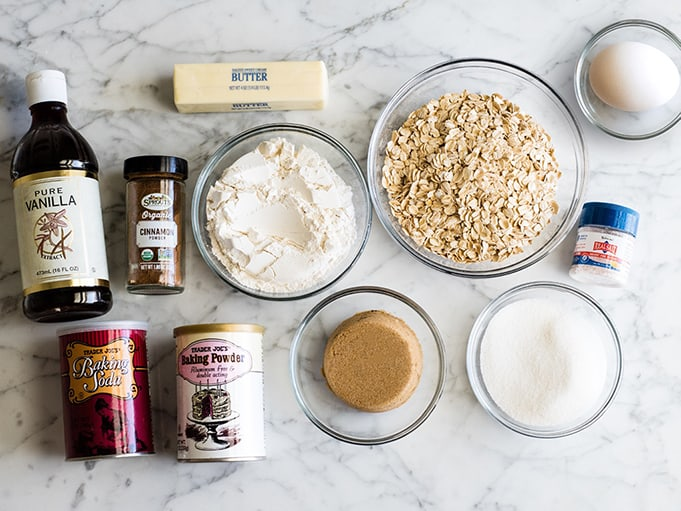 overhead view of the ingredients in this oatmeal cookie recipe