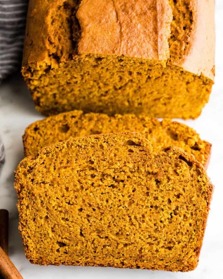 front view of two slices of pumpkin bread
