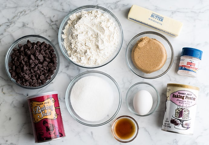 overhead view of the ingredients in this chocolate chip cookie bar recipe