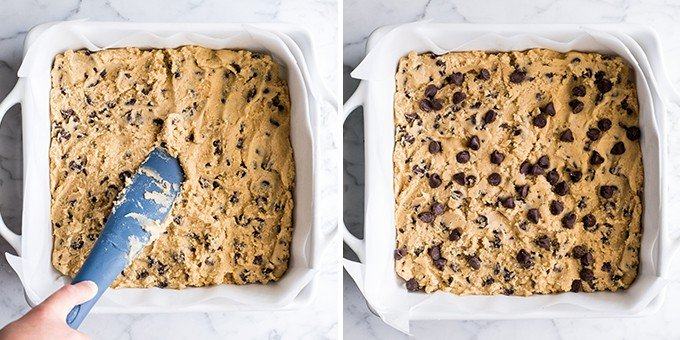 two photos showing how to make cookie bars