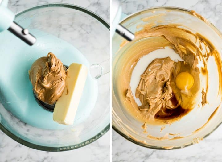 two overhead photos showing how to make peanut butter cookies in a standing mixer