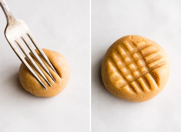 two photos showing how to make criss cross fork pattern in peanut butter cookies