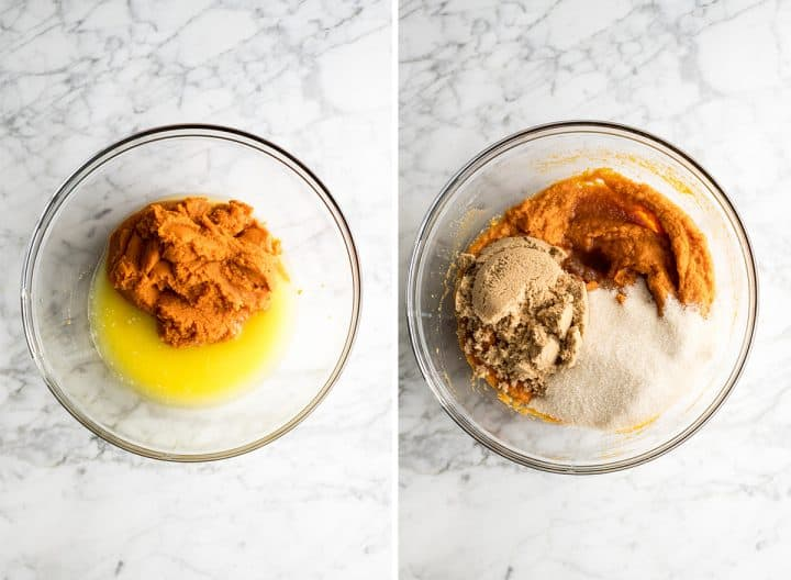 two overhead photos of pumpkin bread recipe being made in a glass bowl