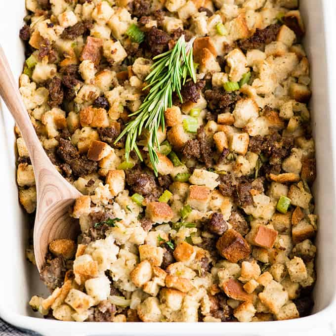 Front view of a pan of sausage stuffing