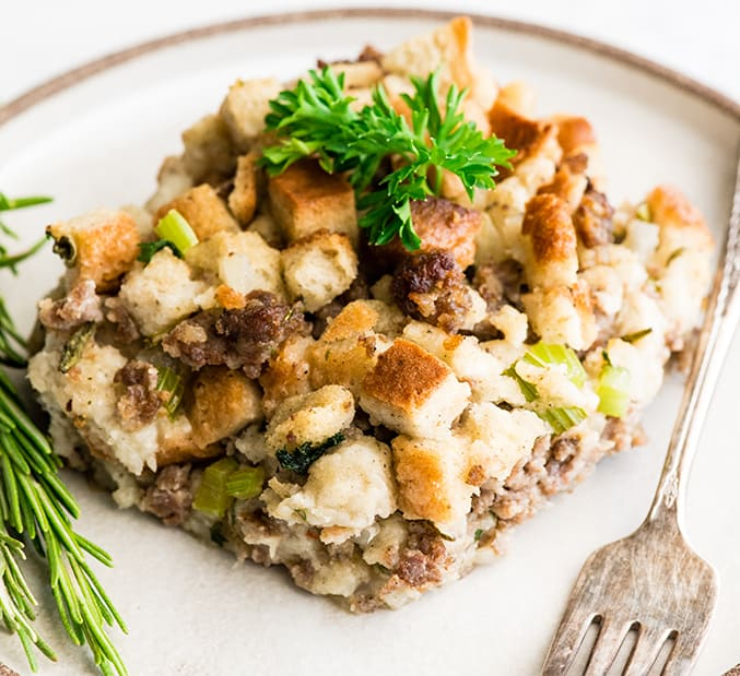 front view of a serving of sausage stuffing on a plate