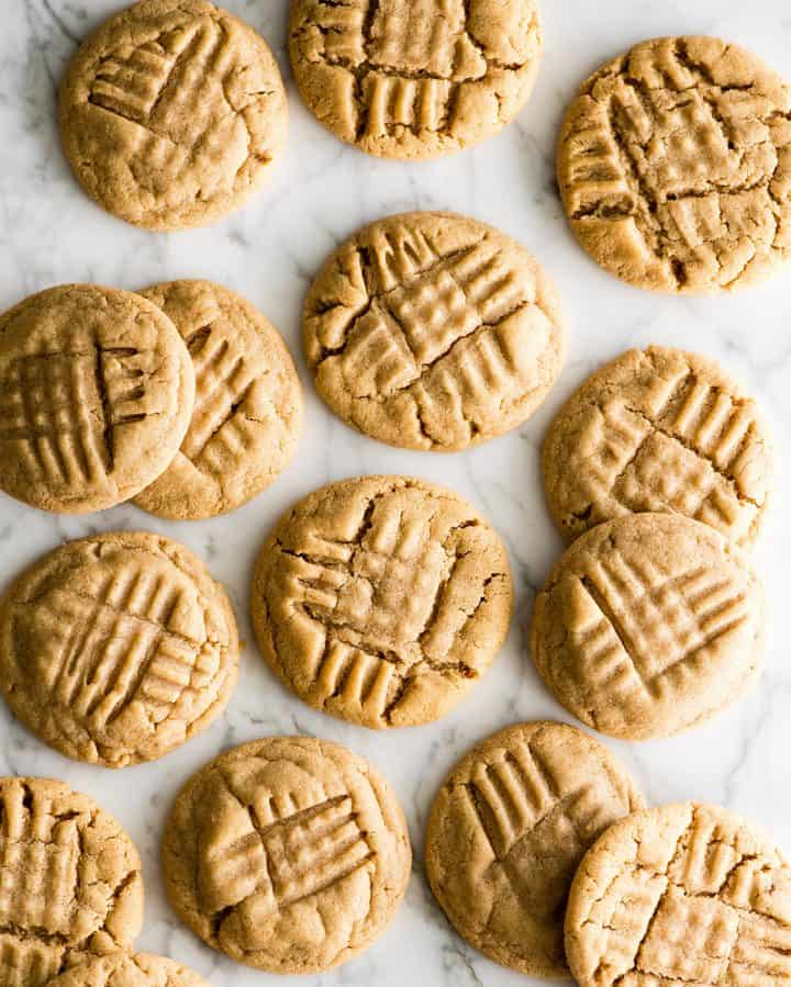 overhead view of 12 peanut butter cookies