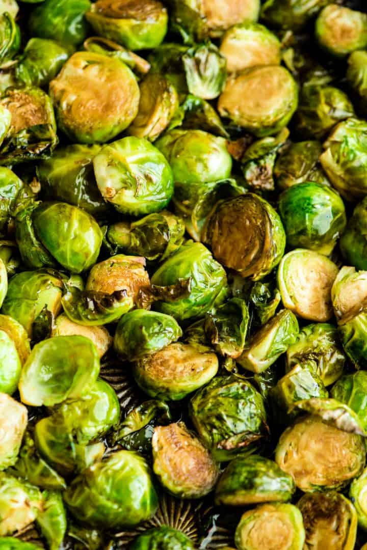 overhead view of balsamic roasted brussel sprouts in the baking pan