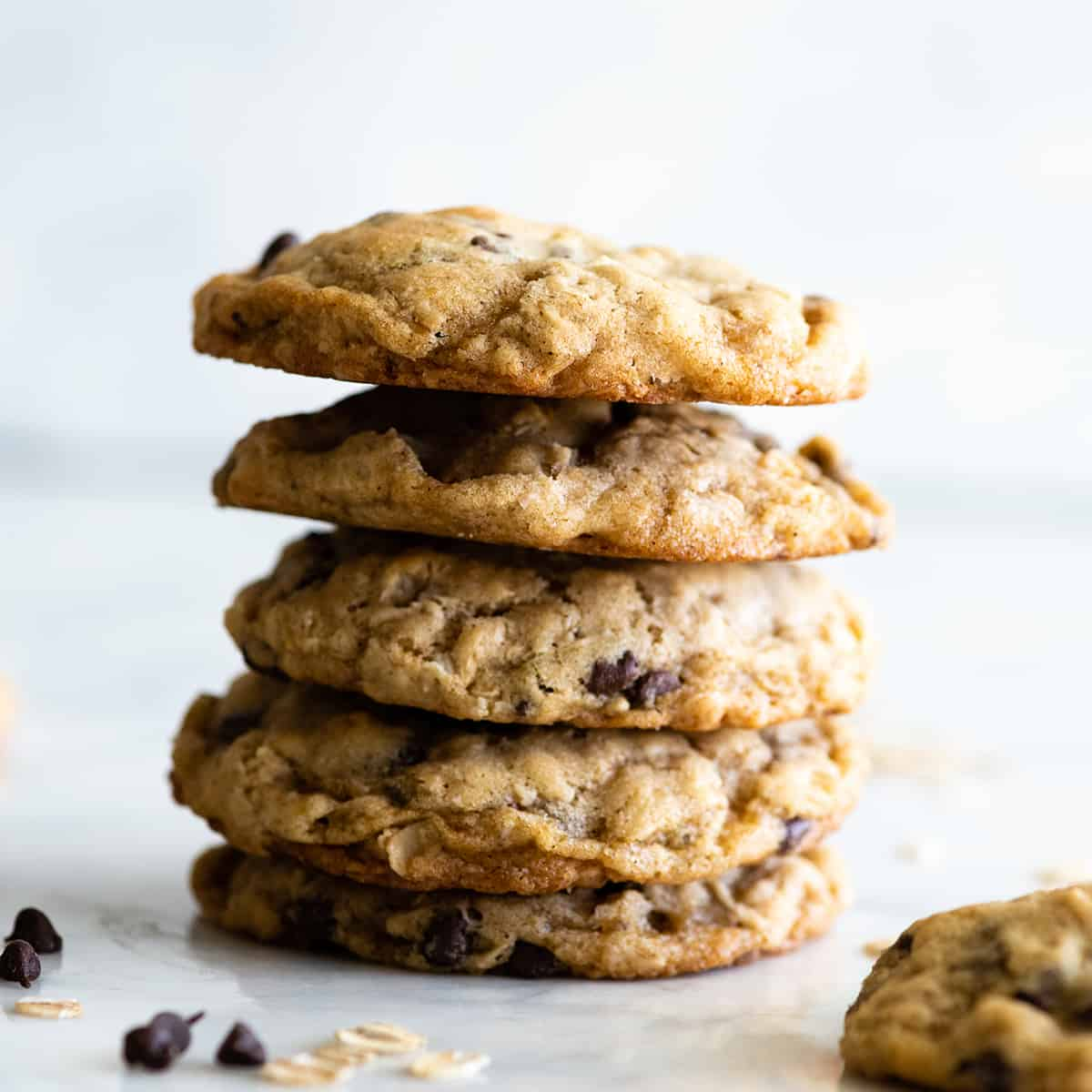 stack of 5 oatmeal cookies with chocolate chips