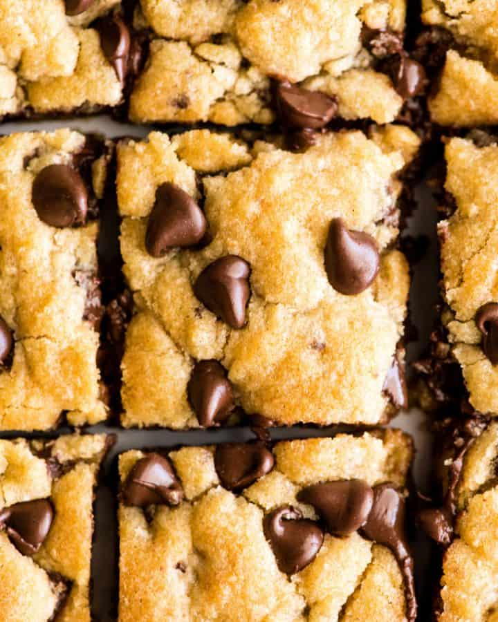 overhead view of 9 chocolate chip cookie bars