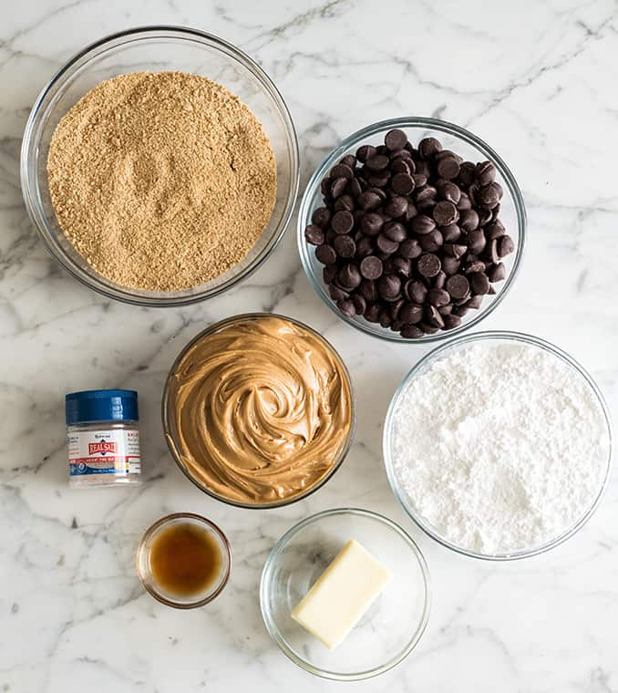 overhead photo of the ingredients in this chocolate peanut butter balls recipe