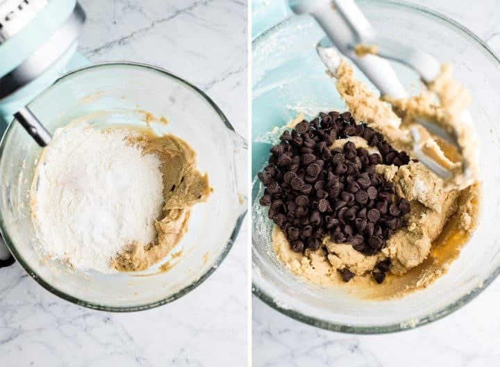 two phots showing how to make this chocolate chip cookie bar recipe