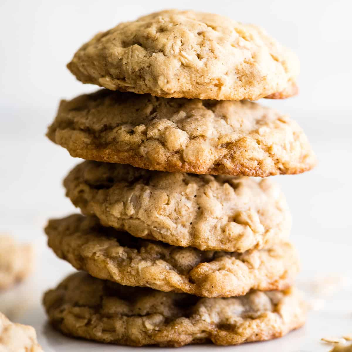 stack of five oatmeal cookies
