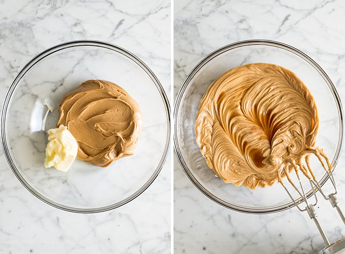 two overhead photos showing how to make peanut butter blossom cookies