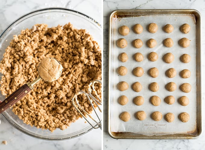 two overhead photos showing how to make peanut butter balls