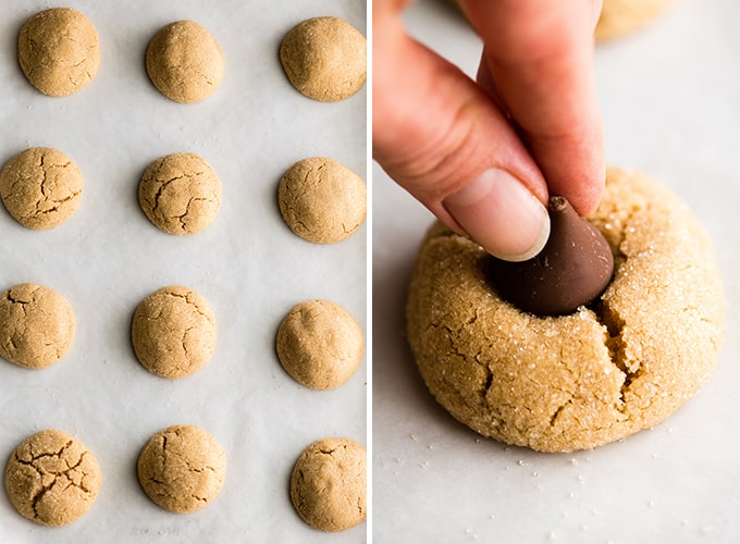 two photos showing putting Hershey kisses into baked peanut butter blossom cookies
