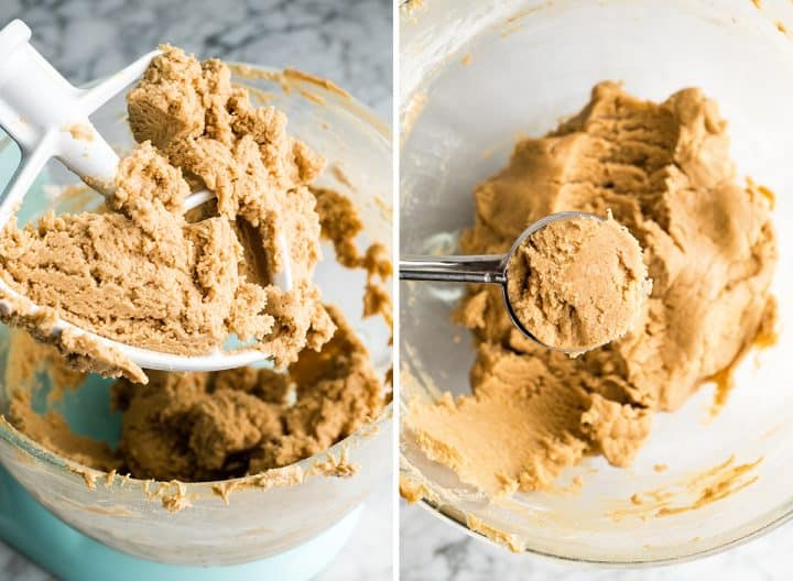 two photos showing how to make peanut butter blossom cookies dough