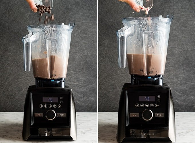 Two photos showing how to make peppermint hot chocolate in the Vitamix blender