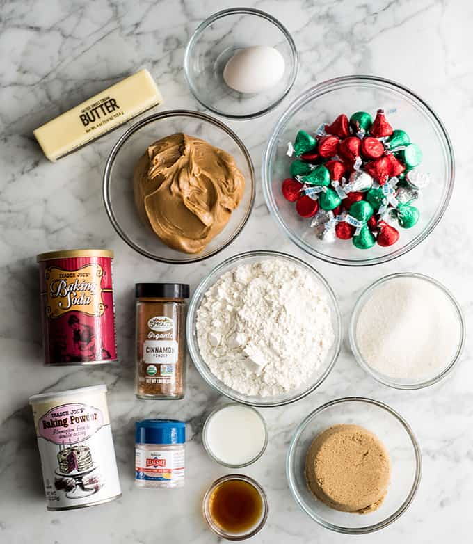 overhead view of the ingredients in peanut butter blossom cookies recipe