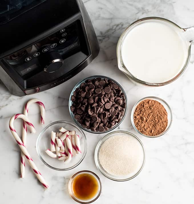 overhead view of the ingredients in peppermint hot chocolate
