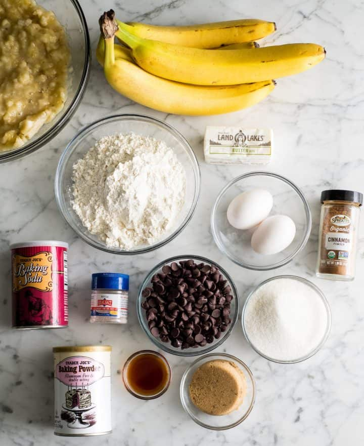 overhead view of the ingredients in this Chocolate Chip Banana Bread recipe