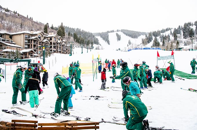 Checking in to Deer Valley Ski School for ski lessons