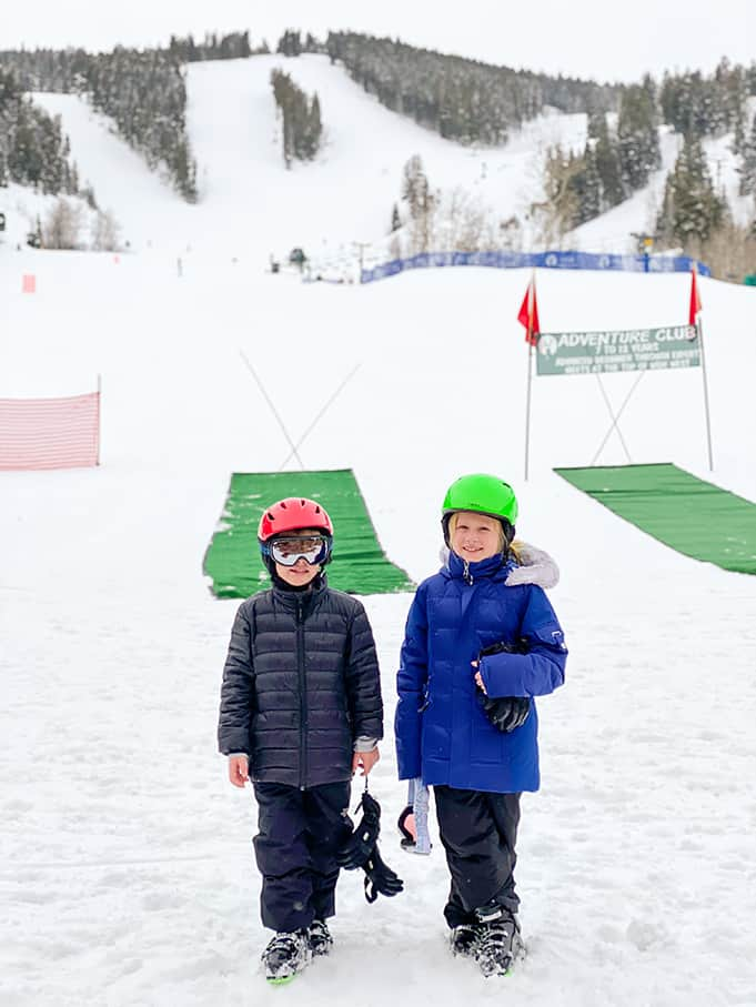 two skiers on their first day of Deer Valley Ski School