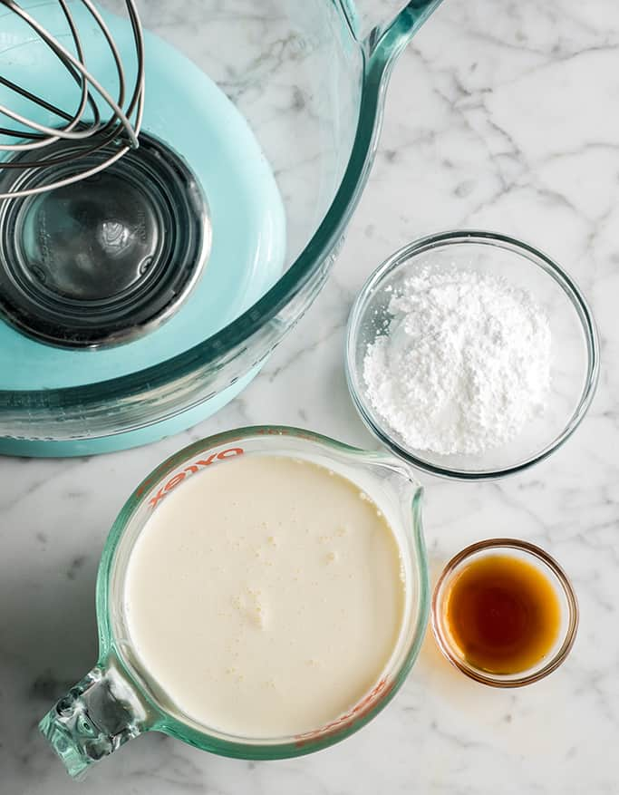 overhead view of the ingredients in this homemade whipped cream recipe