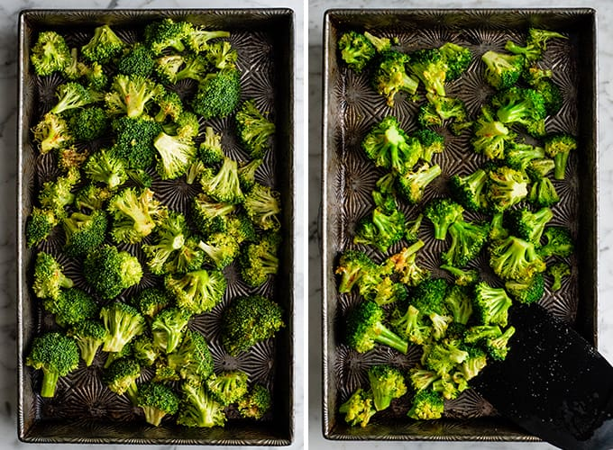 two overhead photos showing how to make roasted broccoli