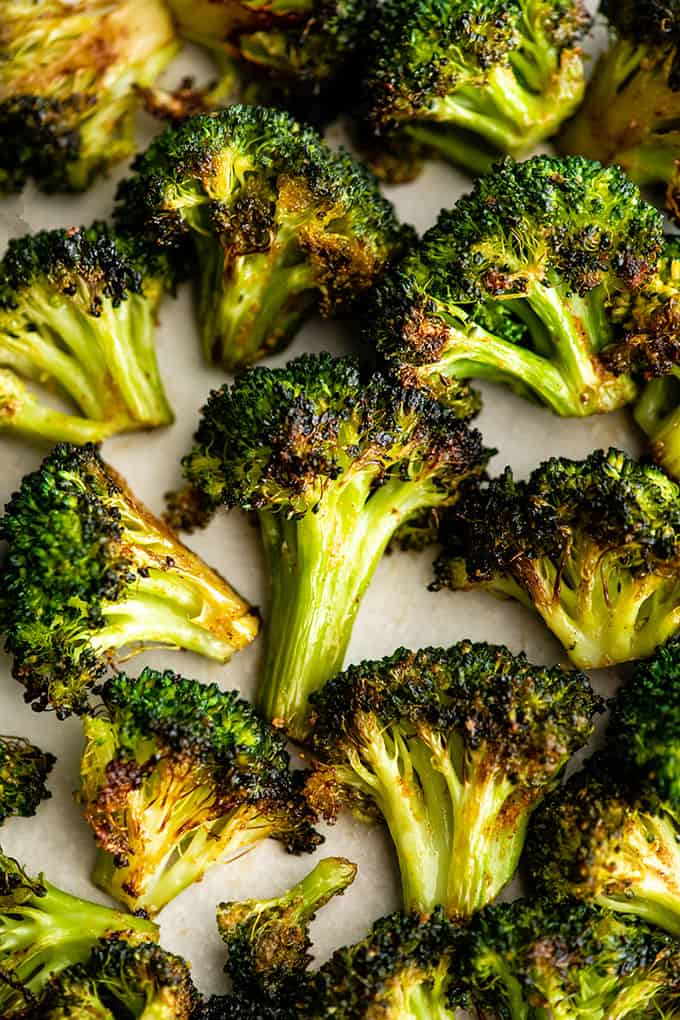 overhead view of roasted broccoli