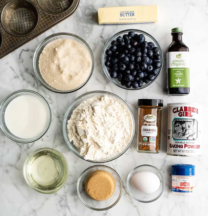 overhead photo of the ingredients in this blueberry muffin recipe