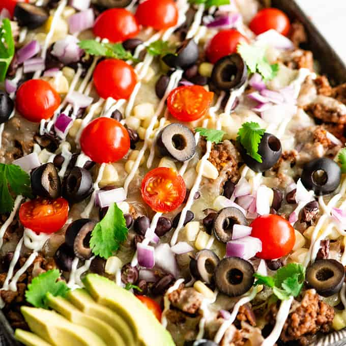 photos of the best nachos recipe with nacho toppings