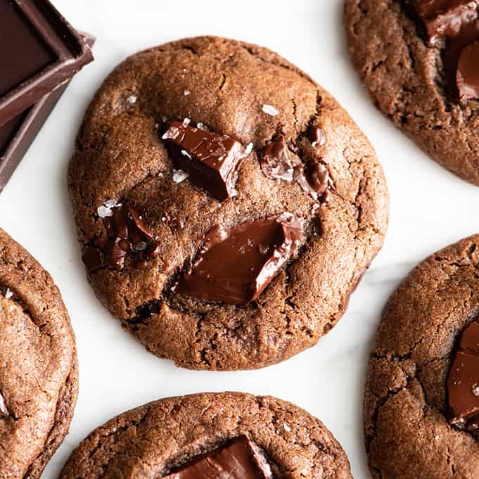 overhead view of a double chocolate cookie
