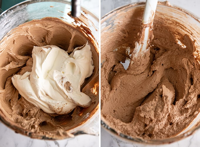two photos showing how to make French silk pie