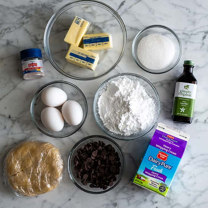 overhead view of the ingredients in this French silk pie recipe