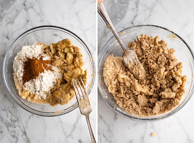 two photos showing how to make blueberry muffin crumb topping