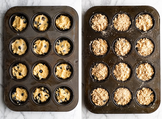 two overhead photos showing how to make blueberry muffins