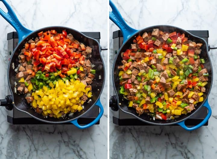 two overhead photos showing how to make chicken sausage and peppers recipe