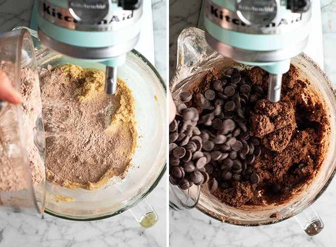 two overhead photos showing how to make chocolate cookies