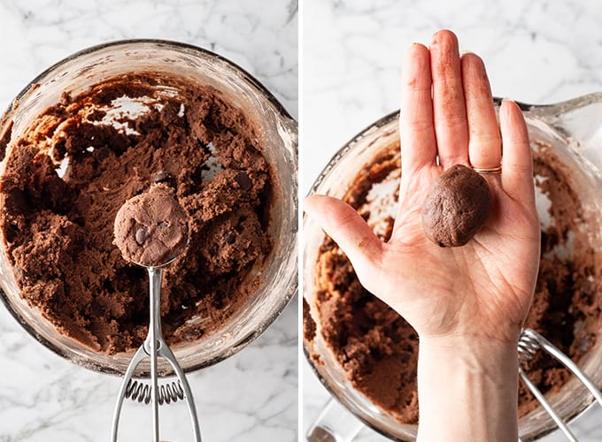 two photos showing how to make double chocolate cookies reicpe