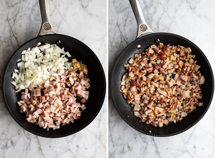 two photos showing how to make egg casserole - cooking bacon, onion and garlic in a frying pan.