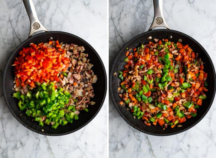 two photos showing how to make egg casserole - cooking vegetables with bacon mixture