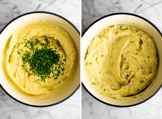 two photos showing how to make mashed potatoes
