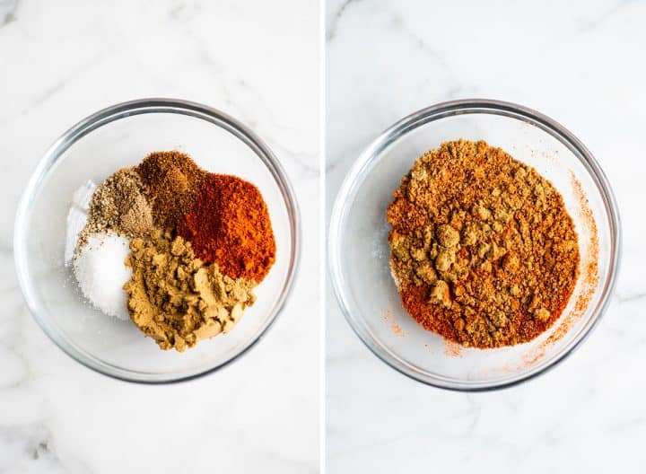 two overhead photos showing how to make the nachos seasoning