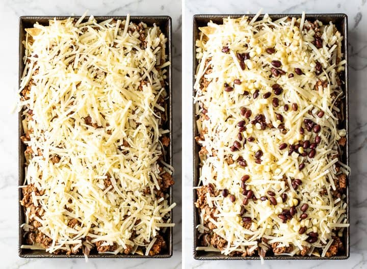 two overhead photos showing how to make nachos