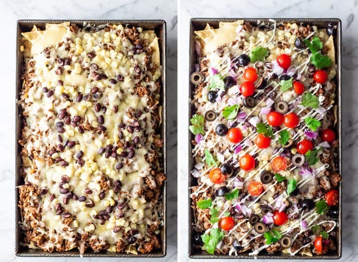 two overhead photos showing how to make this nachos recipe